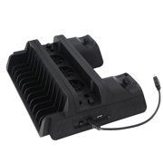 Multifunction Cooling Fan Charging Station for PS4 Console Controllers Disc Shelf for PlayStation 4 Slim / Pro (Black)