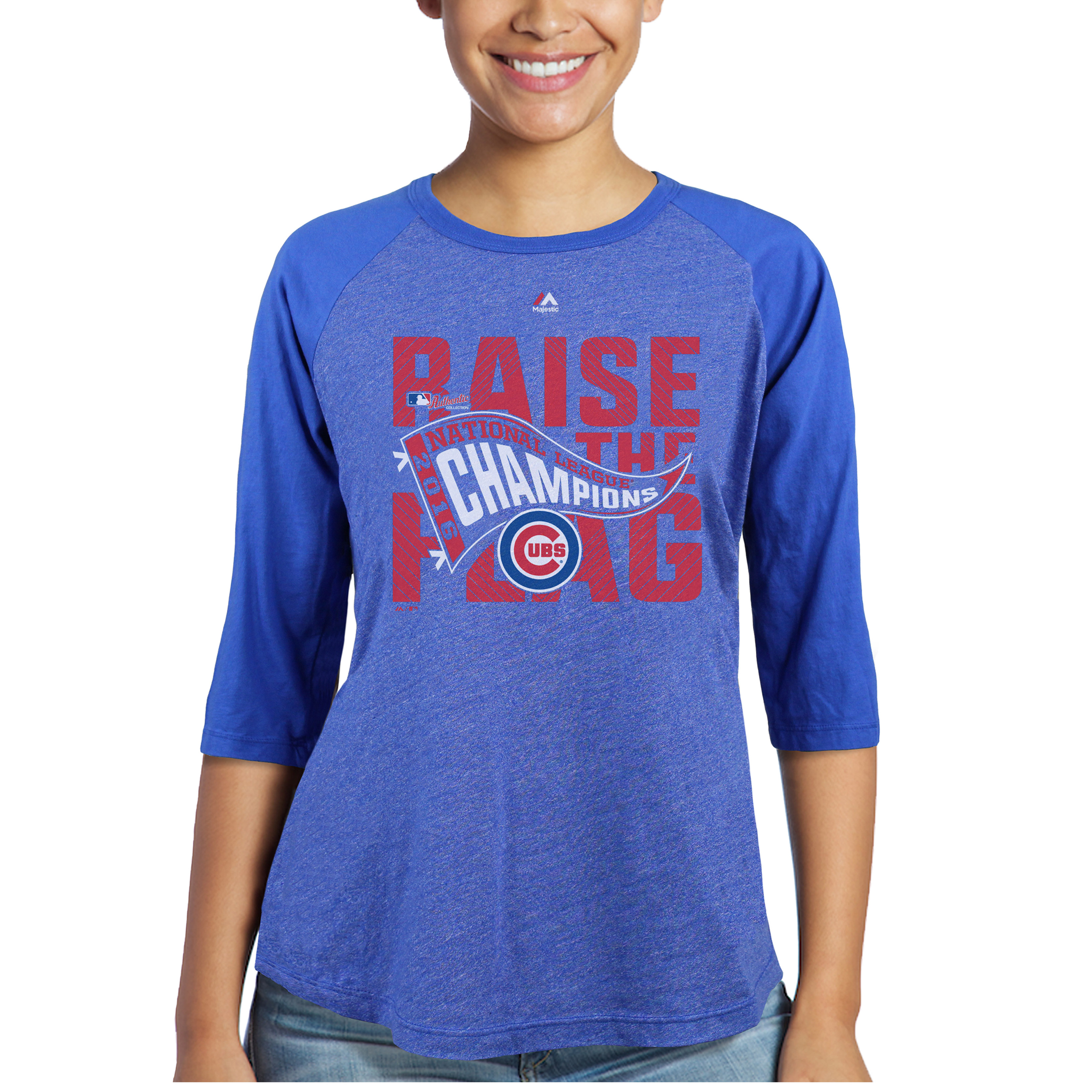 Chicago Cubs Majestic Threads Women's 2016 National League Champions Locker Room 3/4-Sleeve Raglan T-Shirt - Royal