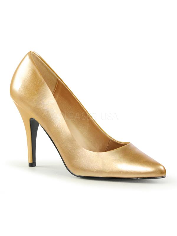 "VAN420/G/PU Pleaser Single Soles 4"" Heel Shoes GOLD Size: 10"
