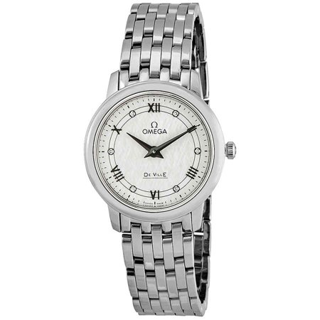 Omega De Ville Prestige White Silvery Diamond Dial Ladies Watch 424.10.27.60.52.002
