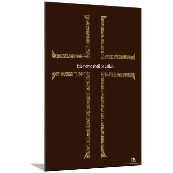 Names Of Jesus Cross Text Poster Wood Mounted Poster Wall Art