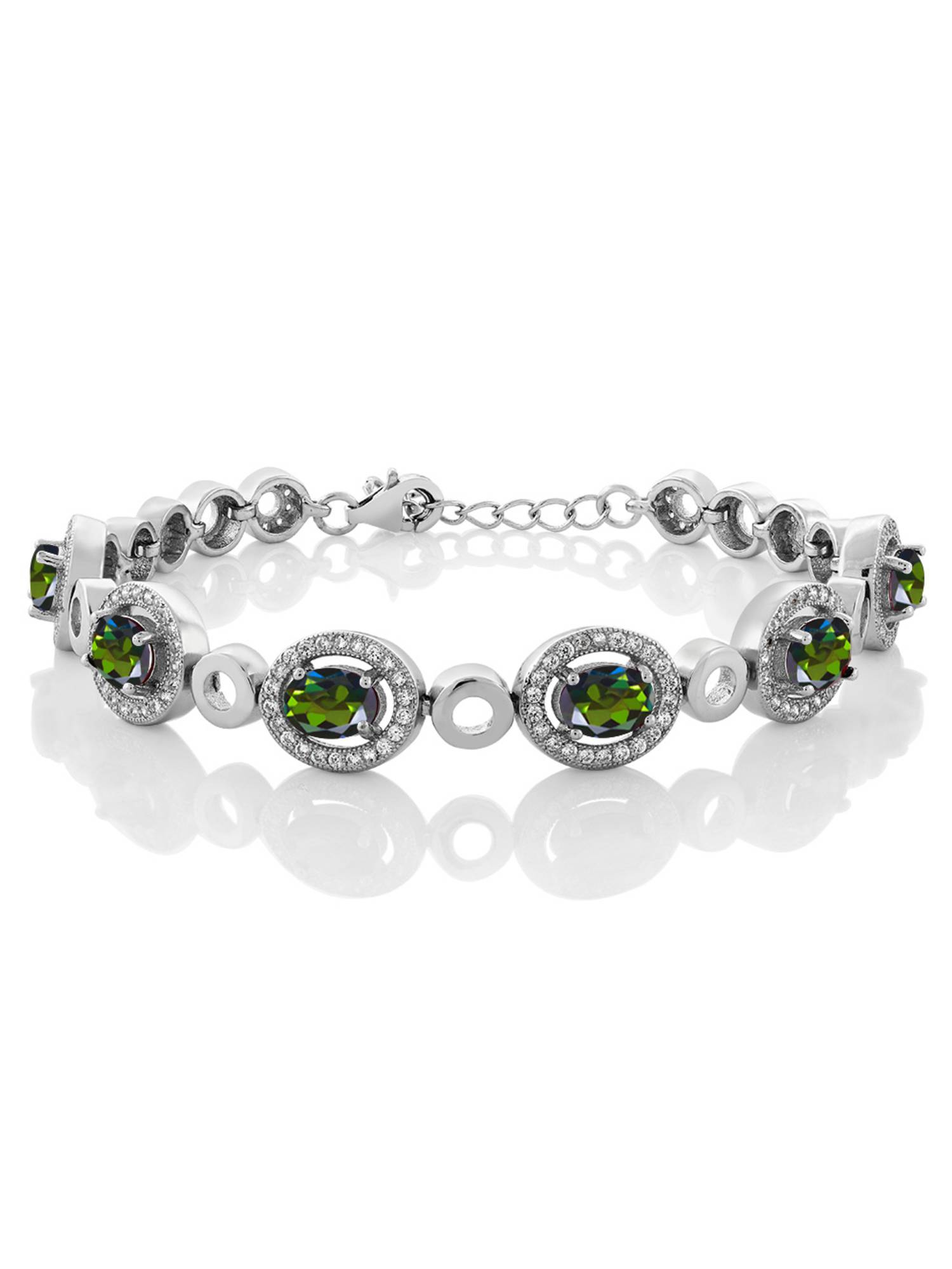 6.72 Ct Oval Tourmaline Green Mystic Topaz 925 Sterling Silver Bracelet by
