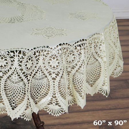 Ivory Vinyl (BalsaCircle 60x90 in Vinyl Tablecloth with Crochet Lace -)