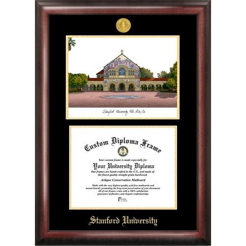 "Stanford University 8.5"" x 11"" Gold Embossed Diploma Frame with Campus Images Lithograph"