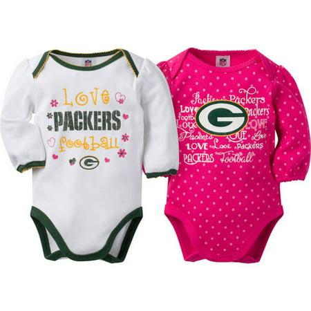 NFL Green Bay Packers Baby Girls Long Sleeve Bodysuit Set a23f417b2