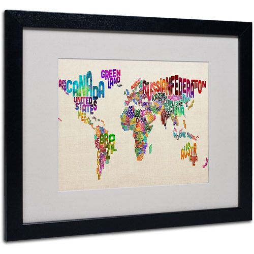Trademark Art 'Typography World Map II' Matted Framed Art by Michael Tompsett