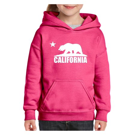 California Republic Bear White Cali Unisex Hoodie For Girls and Boys Youth Sweatshirt