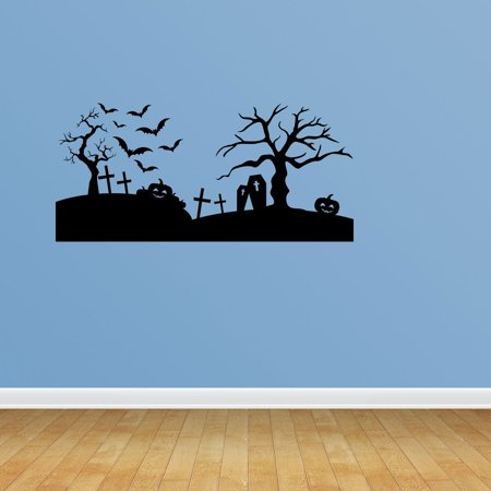 Wall Decal Quote Halloween Scene Spooky Halloween Cemetery Scene Bats Tombstones Decorations Sticker Vinyl Holiday Decor JP652 - Tombstone Quotes Halloween