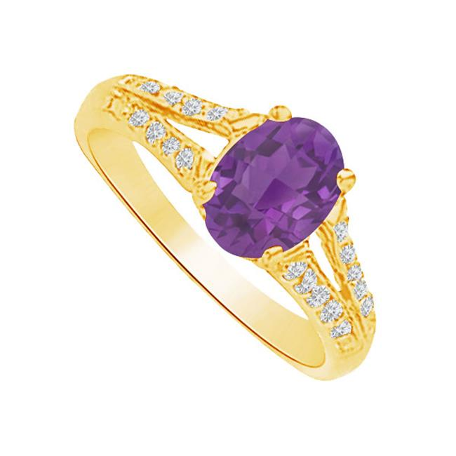 Fine Jewelry Vault UBNR83136Y149X7CZAM Amethyst & CZ Split Shank Ring in 14K Yellow Gold, 4 Stones