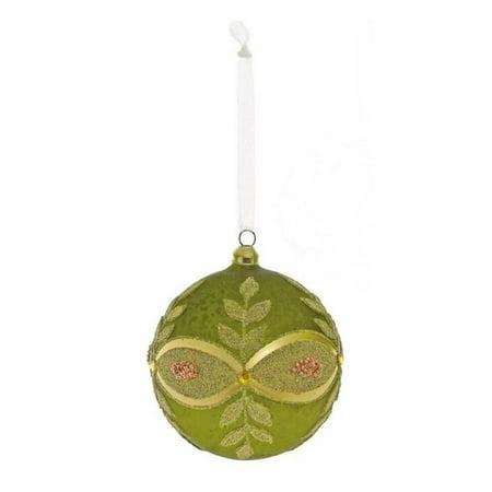 "4"" Avocado Green and Gold Beaded Glass Ball Christmas Ornament - image 1 de 1"