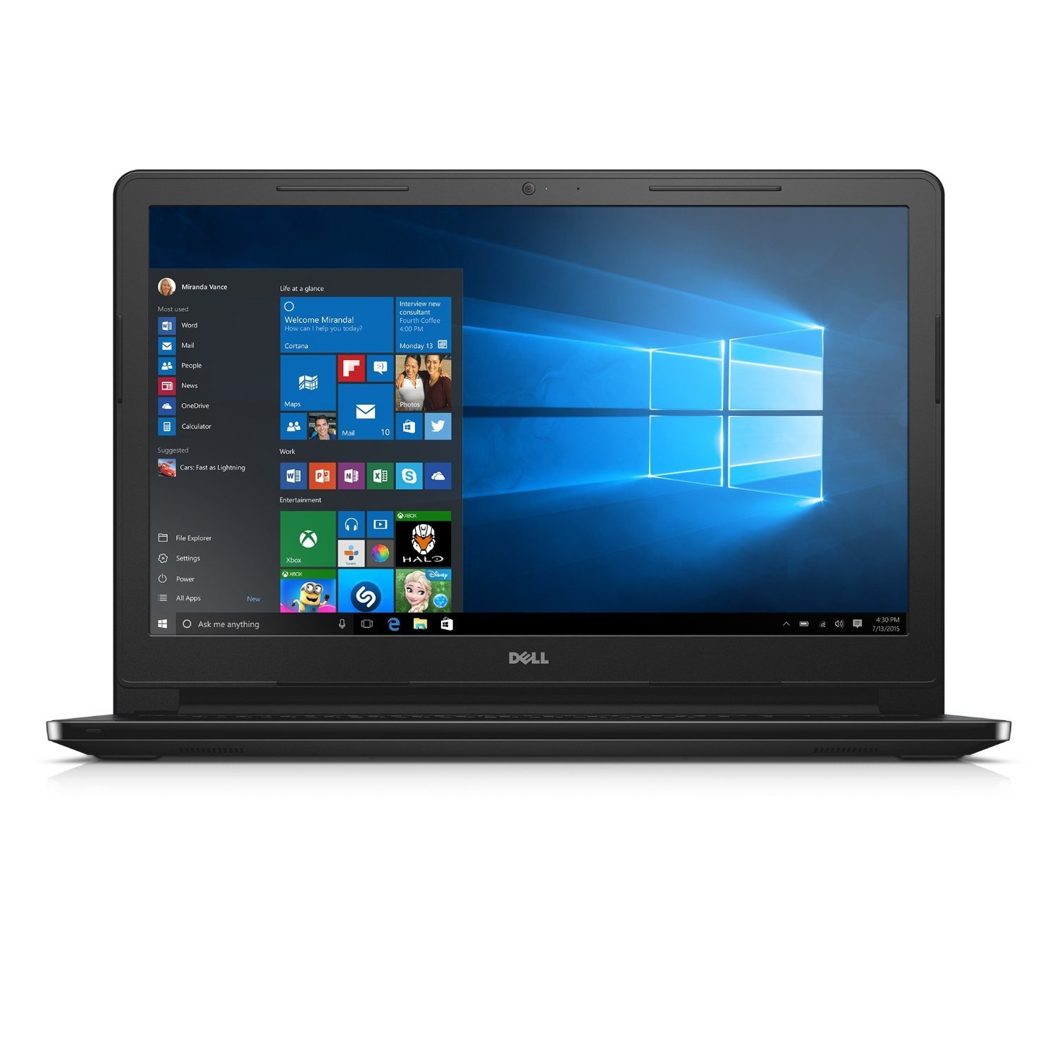 Dell Inspiron Premium Laptop PC, 15.6-inch HD LED-backlit Display, AMD A8-7410 Quad Core Processor, 6GB DDR3L RAM, 500GB HDD, DVD +/- RW, Radeon R5 Graphics, Windows 10