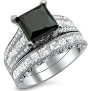 Noori Collection Noori 18k White Gold 4 3/4ct TDW Black and White Princess-cut Diamond Engagement Ring Bridal Set