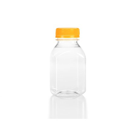 (6) 8 oz. Clear Food Grade Plastic Juice Bottles 8 oz. with Caps (6/pack) (8 oz., Orange