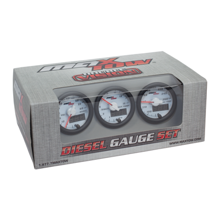 MaxTow White and Green Diesel Gauge Set - 60 Boost, Pyrometer & Trans Temp