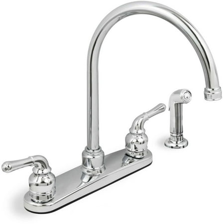 Lead Free Two Handle Kitchen Faucet With Spray Chrome Walmart Com