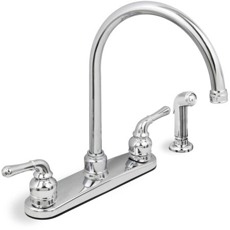 Lead Free Two Handle Kitchen Faucet With Spray Chrome