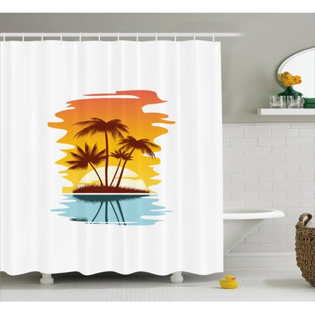 Beach Shower Curtain Tropical Abstract Background With Palm Trees And Sunset Ocean Coastline Fabric
