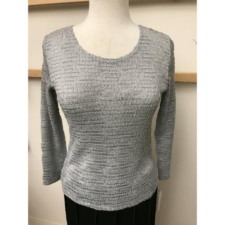 Crocodile Pleated Knit Top 3/4 Sleeves (Style# 28002)