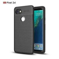 GOOGLE Pixel 2 XL CASE, Pixel 2 XL Case, KAESAR Premium TPU [Leather Texture Design] Slim Fit Flexible Lightweight Shock Absorbent Drop Protection Protective Case Cover for for Pixel 2 XL - Black