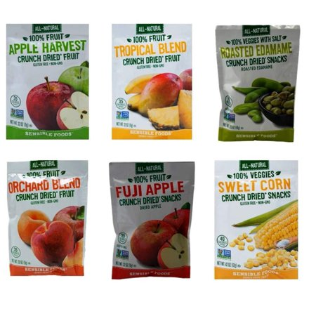 Roasted Sweet Fruit (Sensible Foods All-Natural Gluten Free Vegan Non-GMO Crunch Dried Fruit Snacks 6 Flavor Sampler Bundle, 1 each: Apple Harvest, Tropical Blend, Roasted Edamame, Orchard Blend, Fuji Apple, Sweet Corn)