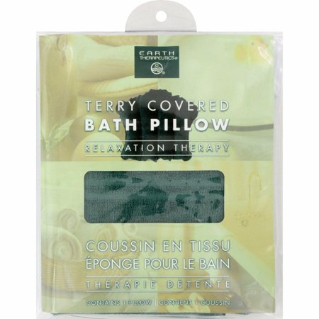 Earth Therapeutics Terry Covered Bath Pillow Dark Green - 1 -