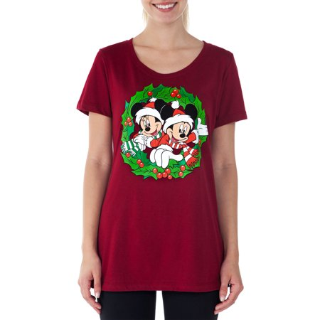 Minnie Mouse Christmas Dress.Women S Fitted Mickey Minnie Mouse Christmas T Shirt Red Size Small Walmart Canada