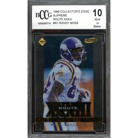 1999 Randy Moss Collectors Edge (1999 collector's edge supreme route XXXIII #r1 RANDY MOSS vikings BGS BCCG 10 )