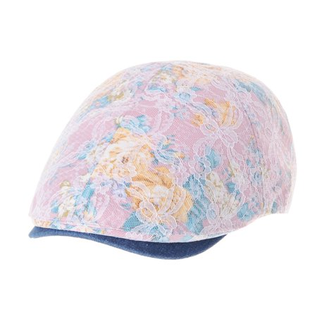 WITHMOONS Floral Pattern Lace Crochet Newsboy Hat Flat Cap SL3650 (Pink)