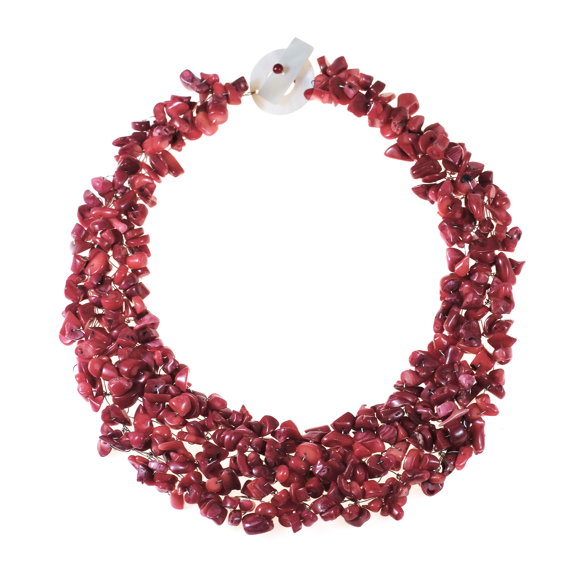 Collared Synthetic Coral Bead Cluster Toggle Necklace by