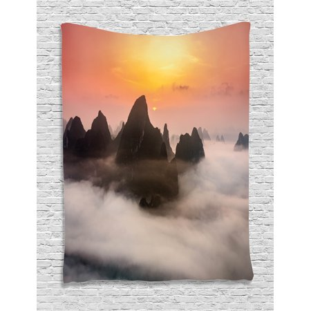 Mist Hanging - Farmhouse Decor Tapestry, Chinese Mountains with Mist Clouds Horizon Sunset Dreamy Surreal Picture, Wall Hanging for Bedroom Living Room Dorm Decor, 60W X 80L Inches, Orange Brown, by Ambesonne