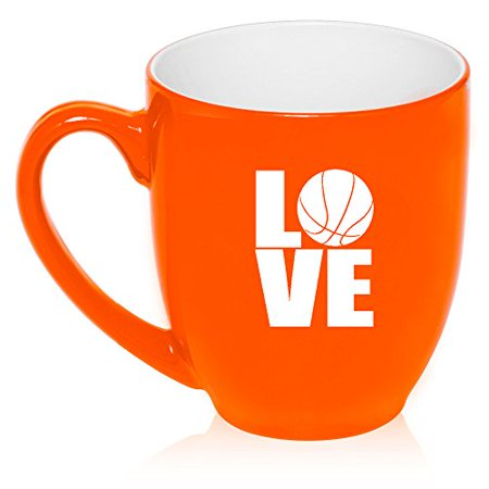 16 oz Large Bistro Mug Ceramic Coffee Tea Glass Cup Love Basketball (Orange) Basket Large Mug