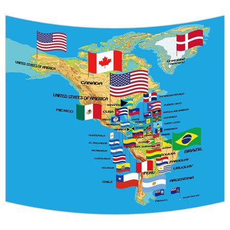 YKCG Home Decor North and South America Map with flags and Countries Name  Wall Hanging Tapestry Wall Art 51x60 inches
