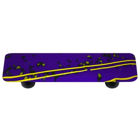 - Hot Knobs HK3116-PB Mardi Gras Yellow with Cobalt Blue Rectangle Glass Cabinet Pull - Black Post