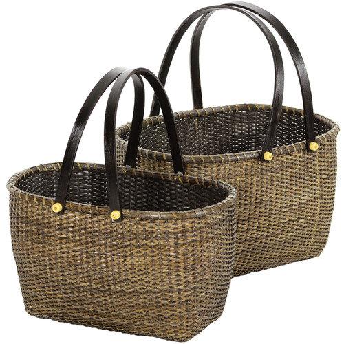Oriental Furniture 2 Piece Rattan Open Storage Basket Set