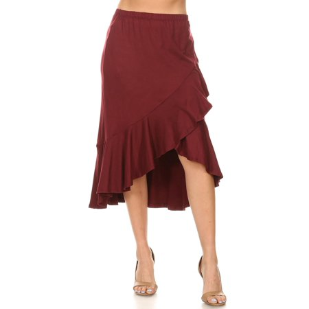 MOA COLLECTION Women's Solid Ruffled Faux Wrap Stretch Comfy Elastic Waist Midi Skirt/Made in USA](Maroon Skirt)