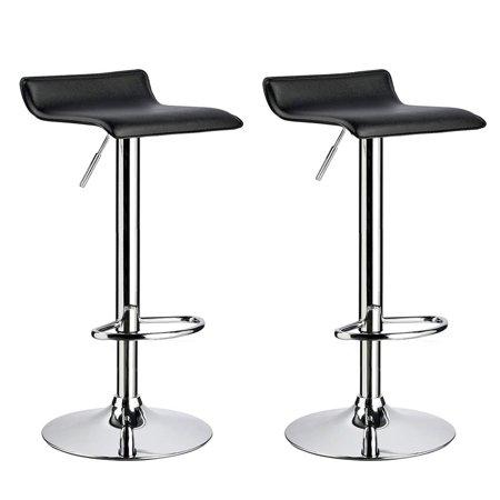 UBesGoo 2 PCS Contemporary Counter Bar Stool Curved Swivel Adjustable Barstools (Black)