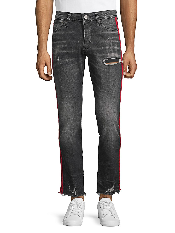 Distressed Side-Striped Jeans