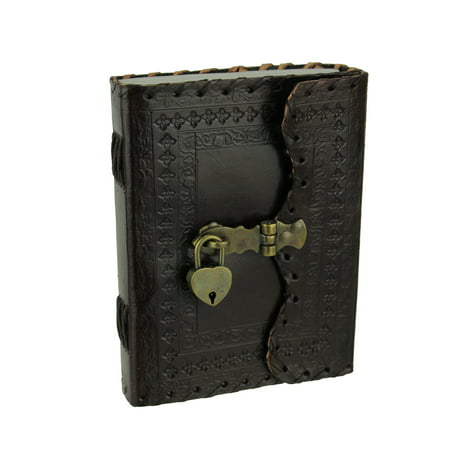 Ornate Embossed Leather Bound Blank Journal With Brass Hasp and Padlock ()