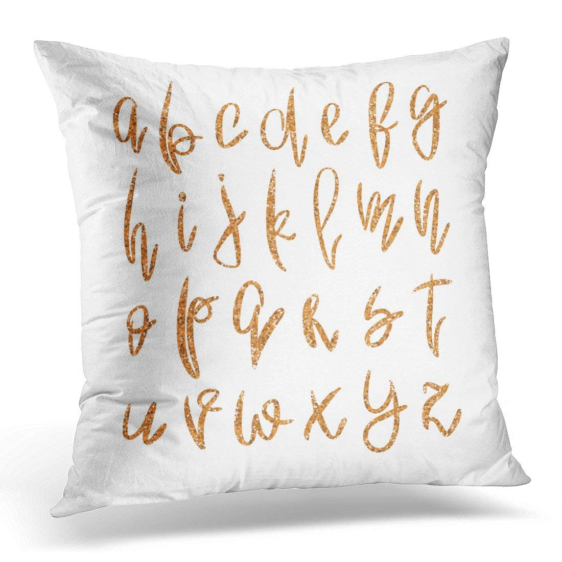 USART Golden Lowercase Alphabet Unique Rose Gold Glitter Handwritten ABC White for Glamour and Luxury Design Pillow Case Pillow Cover 20x20 inch