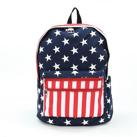 Stars and Stripes USA Flag Print Vinyl Backpack Book Bag -