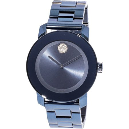 Movado BOLD BLUE TONE CRYSTAL STAINLESS STEEL WATCH 3600494 ()
