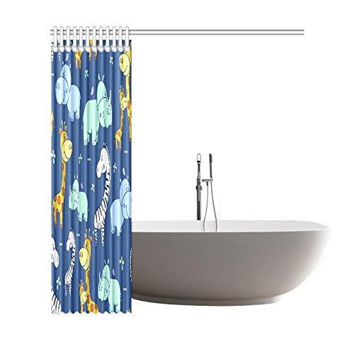 GCKG Cartoon Animals Shower Curtain, Hippo Zebra and Giraffe Polyester Fabric Shower Curtain Bathroom Sets 66x72 Inches - image 1 of 3