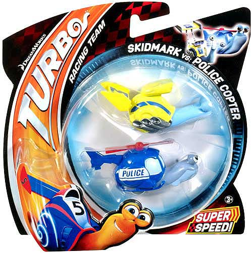 Turbo Skidmark vs Police Copter Vehicle 2-Pack