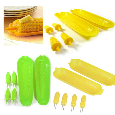 Leaf Serving Dish - 12 Pc Corn On The Cob Serving Set Dish Tray Server Skewers Prongs Holder Kitchen