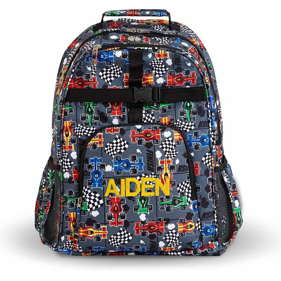 Personalized Playful Print Backpack, Racing, Name