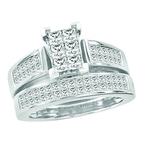 2.00Ctw Diamond Bridal Set With Princess Center Womens Fixed Ring Size - 7