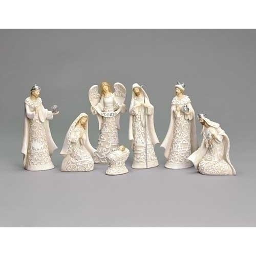 7-Piece Religious Embossed Scene Nativity Christmas Figure Set 7.5""