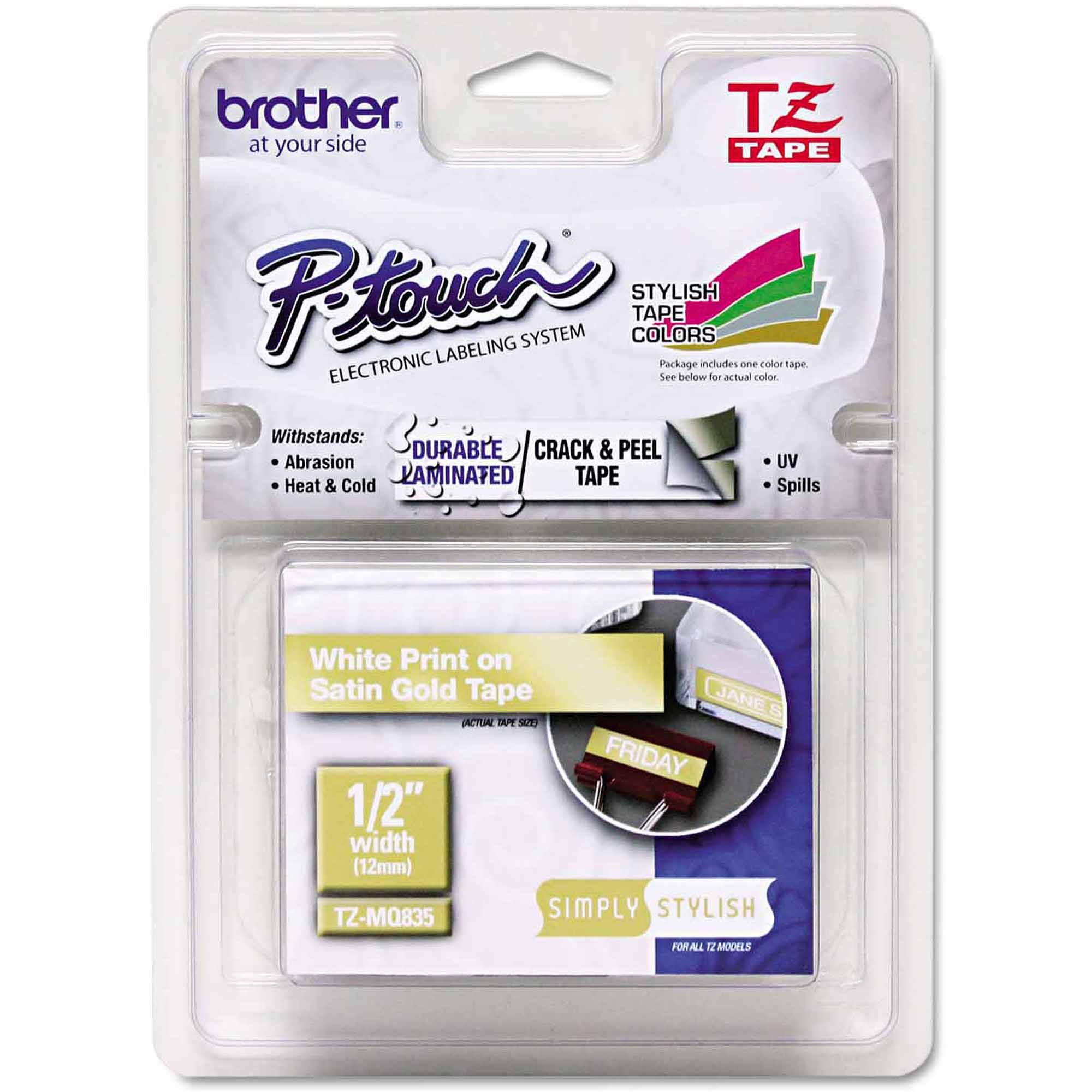 "Brother P-Touch TZ Standard Adhesive Laminated Labeling Tape, 1/2"" x 16.4', White/Satin Gold"