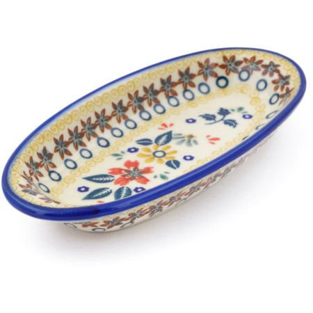 Polish Pottery 6½-inch Condiment Dish Hand Painted in Boleslawiec, Poland + Certificate of Authenticity