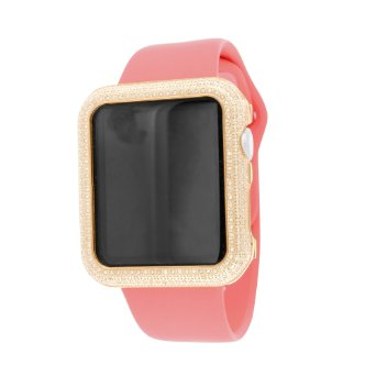 Rose Gold Finish Real Diamond Apple Watch Pink Silicone Strap 42 MM Digital IOS by